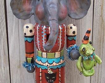 Whimsical Vintage Halloween Elephant Nutcracker Ooak Doll Boutique Folk Art