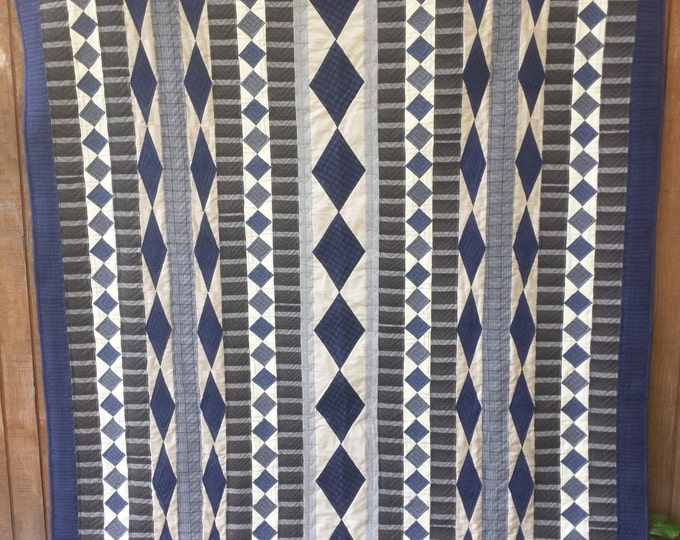 Cascade a patchwork, diamond, vertical row, quilt pattern for him