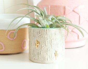 Ceramic Cactus Pot, Small Cactus Planter, Gold Cactus Decor, Cactus Lovers Gift, Pencil Cup Holder, Mini Succulent Planter, Air Plant Holder