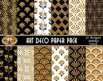 Art Deco Paper, 12 x 12 Art Deco Paper Pack, Art Deco Digital Paper Pack, Black and Gold Art Deco Backgrounds (A05-3D), Commercial Use