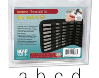 Arial/Gothic Lower Case Letter Stamp Set 3mm 27pcs Free U.S. Shipping