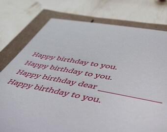 Birthday Song. Letterpress Flat Greeting Card / Birthday Card