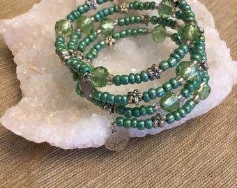Green and Silver Hand Beaded, Multi Strand Bracelet