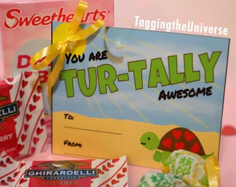 Turtle Valentine  - Turtally Awesome - Valentine Tags - Printable Valentine Gift Tag -  Valentine Grams - Instant Download