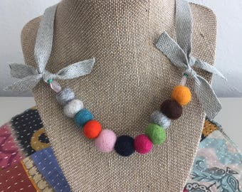 Wool Necklace* Wished Studios* Handmade*Girls Necklace * Classic* Modern* Girls Birthday Present*Bright And Colorful*Preppy