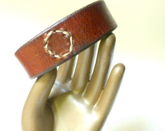 Leather Bracelet / Wrist Cuff ~ Swiss Army Vintage Leather ~ 3rd Anniversary Gift