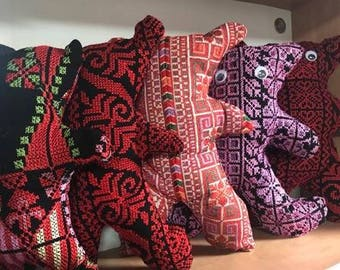 Handmade Palestinian recycled embroidered teddy bears