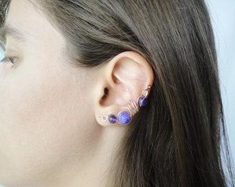 Full ear cuff, silver ear cuff no piercing, silver earcuff, silver ear climber, prom ear cuff ballroom earrings, set of two ear cuff