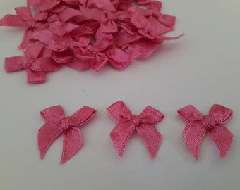 100 mini Satin Ribbon Dark Pink Bows
