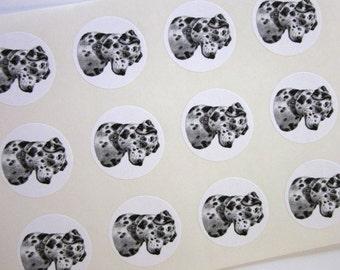 Dalmatian Dog Stickers One Inch Round Seals