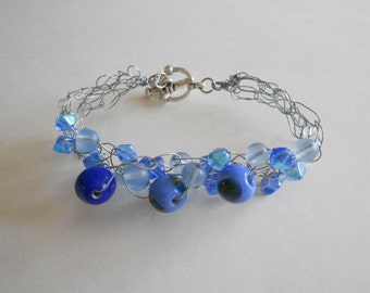 Blue Beads Bracelet Blue Glass Beads Glass Beads Bracelet Wired Bracelet Crocheted Wire Blue Bracelet Wire Bracelet Silver Tone Wire