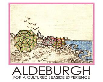 Aldeburgh Travel Poster Windbreaks Umbrella Beach Seaside