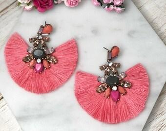 Coral Pink Rhibestone Tassel Statement Earrings