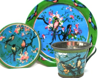 30s Tin Toy Tea Setting, Bluebirds & Blossoms, by Ohio Art Co.