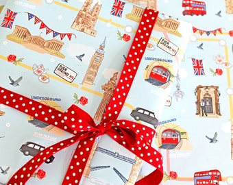 Single Sheet Gift Wrap with Tag - Underground, Overground' - London Wrapping Paper - British Wrap - Union Jack Gift Wrap
