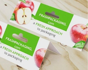 """1000 Folded header Cards or package hang tags - 3.5""""X4"""",4""""x4"""", 4""""x6"""" size options - 14 PT glossy UV Coated or matte -  custom printed"""