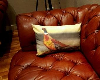 Autumn Glory - Pheasant design cushion, Pheasant pillow, Pheasant Pillow Cover, Pheasant decorator throw pillows, Pheasant throw cushion
