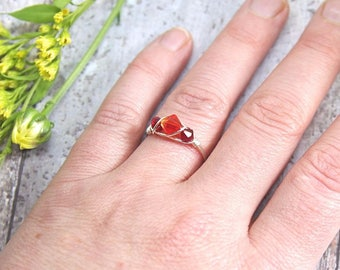Orange and Red Crystal Ring, Simple Wire Wrapped Ring, Crystal Wire Wrap Jewelry, Crystal Promise Ring, Wire Stacking Ring, Any Size for Her