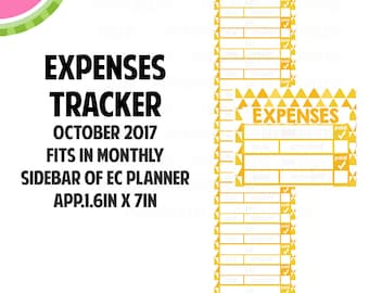 OCT 2017 Monthly EXPENSES Tracker Stickers | Vertical Color Palette | LB150