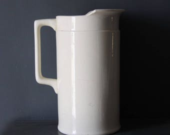 Rare Antique French White Ironstone Pitcher, Jug, Nordic Living, Sarreguemines