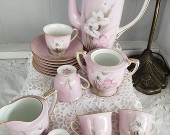 Vintage hand painted Noritake tea set, garden party, bridal shower, Southern charm, Shabby Chic