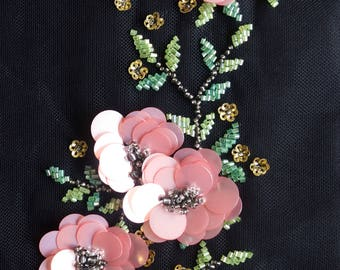 Hand-made motif with pink sequins flowers and beaded leaves