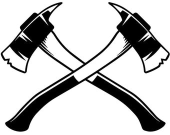 Firefighter Logo #25 Firefighting Rescue Axes Fireman Fighting Fire Engine Truck Emt Emergency .SVG .EPS .PNG Vector Cricut Cut Cutting File