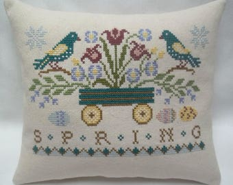 Primitive Spring Cross Stitch Mini Pillow,  Birds And Flowers With Wagon