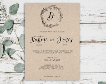 Wedding Invitation Template, Rustic Wedding Invitation Template, Editable Wedding Invitation, Wedding Invitation Printable, Printable, 0055