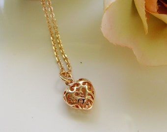 Mini Rose Gold Heart Necklace, Filigree Puffy Heart, Modern, Heart Pendant, Gift for Her