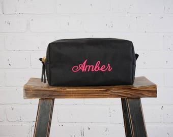 Personalized Makeup Bag Canvas Cosmetic Bag   Canvas Dopp Kit Travel Bag Custom Name Bag Toiletry Bag Bridesmaid Gift for Girl Teen Gym Bag