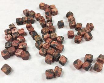 LEOPARDSKIN JASPER CUBE Beads 4mm
