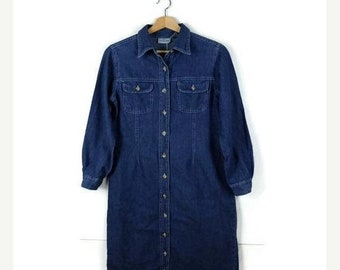 ON SALE Vintage Denim Long Sleeve Button down Casual  Dress  from 90's