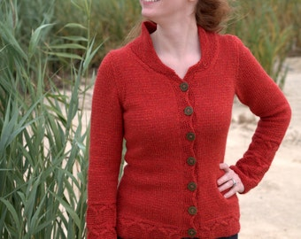 Hand Knitting Pattern for Hashi Long Sleeve Buttoned and Fitted Cardigan with Cable Border in Worsted Weight Hikoo Kenzie via PDF