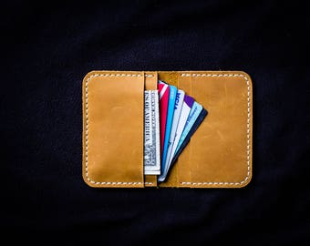 Front pocket wallet / Minimalist wallet / Bifold Yellow leather wallet / Card holder