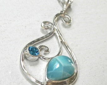 Larimar Necklace Sterling Silver - Larimar Blue Topaz Pendant - Ocean Blue Larimar Jewelry - Something Blue - Mermaid Dreams