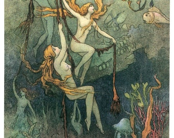Hand-cut wooden jigsaw puzzle. MERMAIDS in the DEEP. Warwick Goble. Fairytale gift. Wood, collectible. Bella Puzzles.