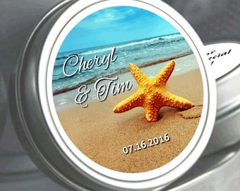 Wedding Favors - 150 Personalized Wedding Mint Tins - Wedding Mints - Mint Favors - Beach Favors - Starfish Favors - Starfish Stickers