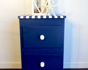 Navy and white nightstand, painted furniture, kids, teens, vintage