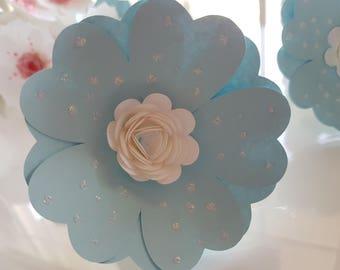 Blue with white Polka Dot Napkin Rings (set of 8)