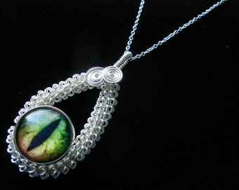 Glass Dragon Eye Pendant - Wire Wrap Green Copper Eyeball with Sterling Silver Necklace Option