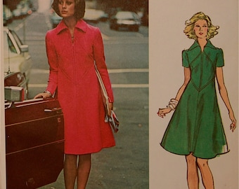 """Dress, Bias Insets by Fabiani of Italy - 1970's - Vogue Couturier Design Pattern 2831  Uncut  Size 10  Bust 32.5"""""""