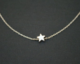 Tiny Silver Star Necklace in Sterling Silver. Star Necklace. Silver Star Charm. Bridesmaid Necklace.Bridesmaid Gift.Wedding. Delicate.Dainty