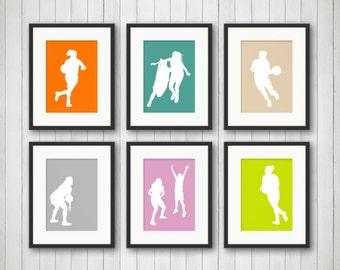 Girls Basketball Art, Girls Sports Bedroom Decor, Basketball Print