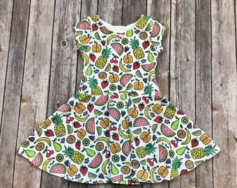 Fruit Dress. Toddler Dress. Little Girl Dress. Twirl Dress. Twirly Dress. Baby Dress. Fruit Baby Dress. Play Dress. Comfy Dress.