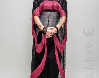 NEW Specialty: The Flapper Fringe Cape in Black with Red or Green Long Fringe Trim by Opal Moon Designs (One Size)