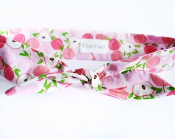 Peach Print Headband - Summer Fruits Bow - Cotton Headband - Women Hair Accessories