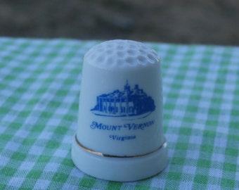 Vintage Mount Vernon Virginia Souvenir Thimble White Porcelain with Blue Decoration Collectible Craft Supply or Cake Topper