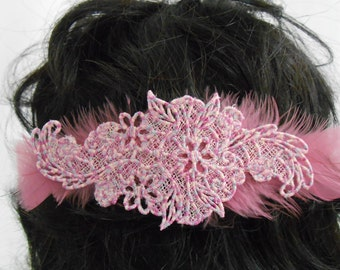 Floral and Feather Barrette
