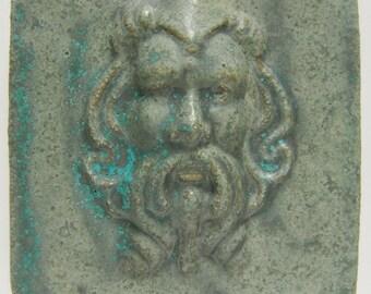 "06. ""Bleeker"" greenman, glazed ceramic tile 3""sq. x 3/8""thick"